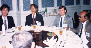 Forum dinner:L – R: Jia Jian San , Dr Kim Im Bae, Barney Smith &  Dr H.P.C. Shetty