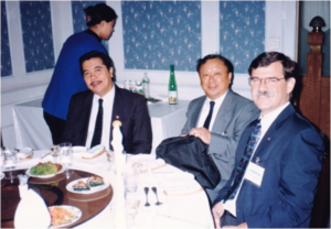 L-R: AFS Councilors Drs Fumio Takashima and Takafumi Arimoto with guest