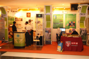 Visitors to booths of the Trade Exhibition