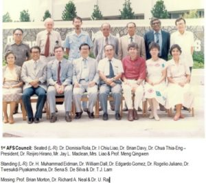 Councilors of the 1st AFS Council: Seated (L-R): Drs. Dionisia Rola, I Chiu Liao, Brian Davy, Chua Thia-Eng (President), Reijiro Hirano, Mr. Jay L. Maclean, Mrs. Liao & Dr Meng QingwenStanding (L-R): Drs H. Muhammad Eidman, William Dall, Edgardo Gomez, R